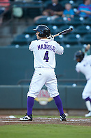 Nick Madrigal (4) of the Winston-Salem Dash at bat against the Myrtle Beach Pelicans at BB&T Ballpark on August 6, 2018 in Winston-Salem, North Carolina. The Dash defeated the Pelicans 6-3. (Brian Westerholt/Four Seam Images)