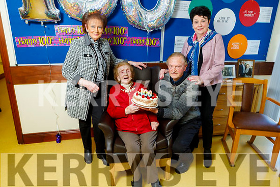 Joan Hayes celebrating her 100th birthday in the Oaklands Nursing Home in Listowel on Thursday with her daughters Angela O'Flaherty, Ann Codrich and son Ciaran Hayes.