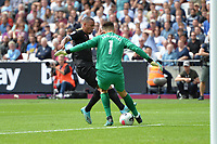 Lukasz Fabianski of West Ham United deals with a bad back pass under pressure from Gabriel Jesus of Manchester City during West Ham United vs Manchester City, Premier League Football at The London Stadium on 10th August 2019