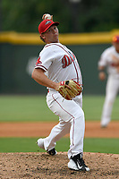 Pitcher Robby Sexton (25) of the Greenville Drive delivers a pitch in a game against the Hickory Crawdads on Sunday, July 16, 2017, at Fluor Field at the West End in Greenville, South Carolina. Hickory won, 3-1. (Tom Priddy/Four Seam Images)