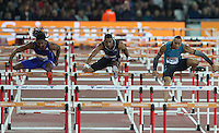Jason RICHARDSON (left) of USA (110m Hurdles) wins ahead of Pascal MARTINOT-LAGARDE (Right) of France (110m Hurdles) during the Sainsburys Anniversary Games Athletics Event at the Olympic Park, London, England on 24 July 2015. Photo by Andy Rowland.
