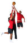 Fire service sports wear on 3 models all jumping for ball