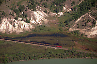 Aerial view of a Canadian Pacific Railroad (CPR) freight train as it travels through the Columbia River Valley. British Columbia (BC), Canada.