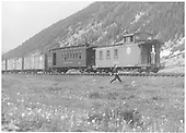#210 red car - combined baggage &amp; coach<br /> D&amp;RGW  Silverton Wye, CO  7/5/1941