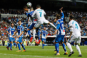 1st October 2017, Santiago Bernabeu, Madrid, Spain; La Liga football, Real Madrid versus Espanyol; Raphael Varane (5) and Cristiano Ronaldo dos Santos (7) Real Madrid compete for the crossed ball