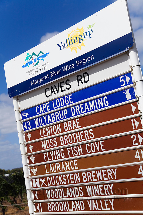 Information sign in the renowned wine region of Margaret River, Western Australia, AUSTRALIA.