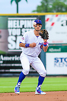 Iowa Cubs infielder Ryan Court (13) takes a throw following a strikeout during a Pacific Coast League game against the Colorado Springs Sky Sox on June 22, 2018 at Principal Park in Des Moines, Iowa. Iowa defeated Colorado Springs 4-3. (Brad Krause/Four Seam Images)