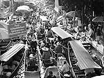 Black and white of Thai Floating Market near Bangkok, Thailand.