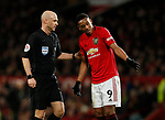 Anthony Martial of Manchester United complains to referee Anthony Taylor during the Premier League match at Old Trafford, Manchester. Picture date: 11th January 2020. Picture credit should read: James Wilson/Sportimage