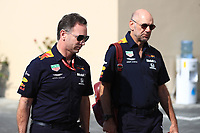 29th November 2019; Yas Marina Circuit, Abu Dhabi, United Arab Emirates; Formula 1 Abu Dhabi Grand Prix, practice day; Christian Horner, Team Principal and Adrian Newey, Chief Technical Officer of Red Bull Racing  - Editorial Use