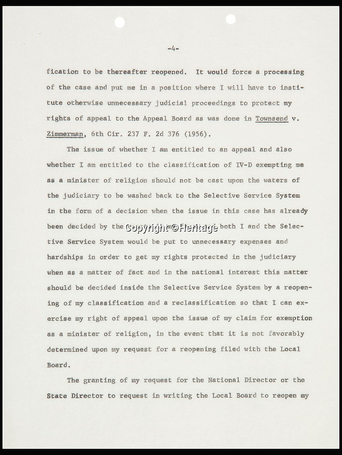 BNPS.co.uk (01202 558833)<br /> Pic: Heritage/BNPS<br /> <br /> ***Please Use Full Byline***<br /> <br /> Page four of the letter. <br /> <br /> An incredibly rare letter written by boxing great Muhammad Ali demanding exemption from the Vietnam War draft has emerged for sale for £35,000.<br /> <br /> Ali was the reigning heavyweight champion of the world when in 1966 was called up to serve in the US army as they waged war against Vietnam.<br /> <br /> But the 24-year-old prize fighter, who had converted to Islam two years previously, repeatedly refused to enlist on the grounds that his religious beliefs forbade any killing.<br /> <br /> The signed six-page letter has been described as the most significant document relating to Ali in existence by experts.