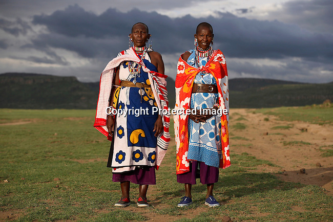 Maasai women In the background Lake Elementeita and Soysambu farm. Photo: Per-Anders Pettersson/Getty Images
