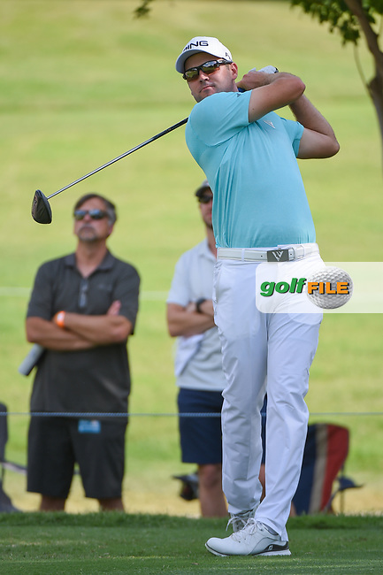 Corey Conners (CAN) watches his tee shot on 7 during round 1 of the 2019 Charles Schwab Challenge, Colonial Country Club, Ft. Worth, Texas,  USA. 5/23/2019.<br /> Picture: Golffile | Ken Murray<br /> <br /> All photo usage must carry mandatory copyright credit (© Golffile | Ken Murray)