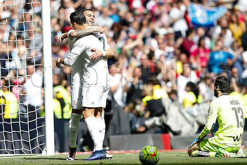 09.04.2016. Madrid, Spain.  Jese Rodriguez Ruiz (20) Real Madrid celebrates after scoring his team´s 4th goal with Cristiano Ronaldo dos Santos (7) Real Madrid as Asier Riesgo (13) SD Eibar watches on. La Liga match between Real Madrid and SD Eibar at the Santiago Bernabeu stadium in Madrid, Spain.