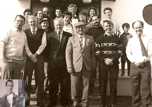 Opening day for the new Clifden Boat Clubhouse in 1990 Back Row: (left to right) Saul Joyce, Catriona Vine. Peter Vine, John Stanley, the late Paddy McDonagh, Doric Lindemann, Julia Awcock, Liam Clarke (architect) and Barry Ward Middle Row: Susie Ward, Emer Joyce and Jean LeDorvan Front row: Donal O'Scannail, Padraic McCormack, the late Talbot O'Farrell, Jackie Ward, and Adrian O'Connell. Inset Damian Ward