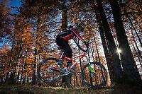 Mountain biker performing a jump in the Common beech (Fagus sylvatica) forest of the Tarcu Mountains Natura2000 site. Southern Carpathians, Munții Ṭarcu, Caraș-Severin, Romania.