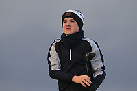 Darragh Behan (Naas) on the 18th tee during Round 2 of the Ulster Boys Championship at Portrush Golf Club, Portrush, Co. Antrim on the Valley course on Wednesday 31st Oct 2018.<br /> Picture:  Thos Caffrey / www.golffile.ie<br /> <br /> All photo usage must carry mandatory copyright credit (&copy; Golffile | Thos Caffrey)