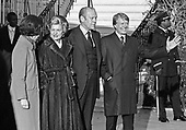 "United States President Gerald R. Ford, right center, and first lady Betty Ford, left center, welcome US President-elect Jimmy Carter, right, and Rosalynn Carter, right, to the White House in Washington, D.C. on November 22, 1976.  This is the first meeting between the two men since the Presidential debates during the campaign.<br /> Credit: Benjamin E. ""Gene"" Forte / CNP"
