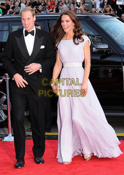 Prince William, Duke of Cambridge and Catherine, Duchess of Cambridge. BAFTA Brits to Watch Event held at the Belasco Theatre, Los Angeles, California, USA..July 9th, 2011.full length royal royalty kate middleton full length black tuxedo purple lilac maxi dress married husband wife.CAP/ADM/BP.©Byron Purvis/AdMedia/Capital Pictures.