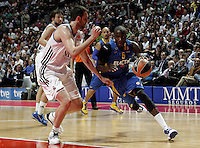 Real Madrid's Nikola Mirotic and Maccabi's James during Euroliga quarter final match. April 10,2013.(ALTERPHOTOS/Alconada) /NortePhoto