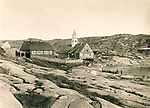 Church and doctor's house, Ilulissat Jakobshavn, Greenland in the late 19th century, circa 1889,