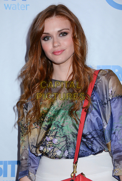 Holland Roden.Generosity Water Hosts 4th Annual Night of Generosity Gala at the Roosevelt Hotel, Hollywood, California, USA, 4th May 2012..half length blue print top red .CAP/ADM/BY.©Birdie ThompsonAdMedia/Capital Pictures.