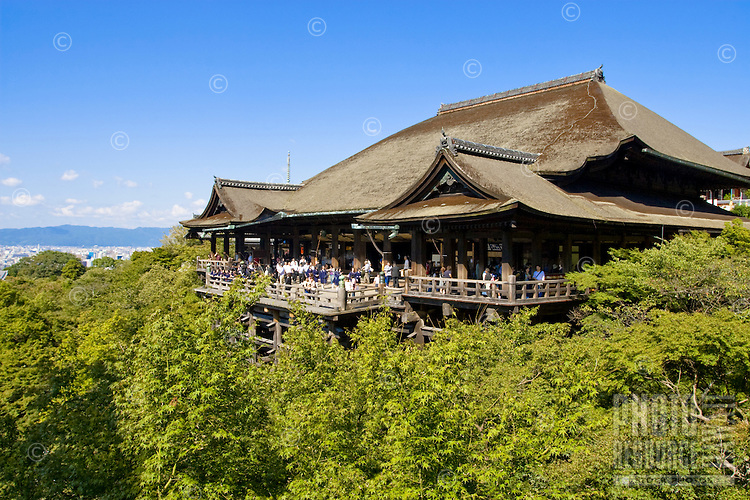 The Kiyomizy-dera Temple in Kyoto, Japan with blue sky.