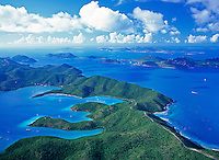 Aerial view of St.  John<br /> showing Hurricane Hole on the left side<br /> U.S. Virgin Islands