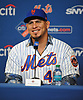 Wilson Ramos, newly-signed New York Mets catcher, smiles as he fields questions from the media during his introductory news conference at Citi Field in Flushing. NY on Tuesday, Dec. 18, 2018.