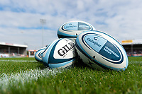 A general view of Gallagher branded rugby balls. Gallagher Premiership match, between Exeter Chiefs and Leicester Tigers on September 1, 2018 at Sandy Park in Exeter, England. Photo by: Patrick Khachfe / JMP