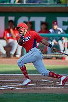 Jose Verrier (12) of the Orem Owlz bats against the Ogden Raptors at Lindquist Field on June 22, 2019 in Ogden, Utah. The Owlz defeated the Raptors 7-4. (Stephen Smith/Four Seam Images)