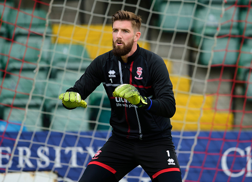 Lincoln City's Josh Vickers during the pre-match warm-up<br /> <br /> Photographer Andrew Vaughan/CameraSport<br /> <br /> The EFL Sky Bet League One - Lincoln City v Fleetwood Town - Saturday 31st August 2019 - Sincil Bank - Lincoln<br /> <br /> World Copyright © 2019 CameraSport. All rights reserved. 43 Linden Ave. Countesthorpe. Leicester. England. LE8 5PG - Tel: +44 (0) 116 277 4147 - admin@camerasport.com - www.camerasport.com