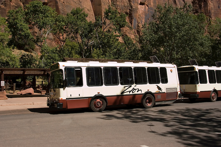 Park shuttle in Zion National Park, Utah, UT, Zion National Park Shuttle at Virgin River busstop, Southwest America, American Southwest, US, United States, Image ut381-17664, Photo copyright: Lee Foster, www.fostertravel.com, lee@fostertravel.com, 510-549-2202