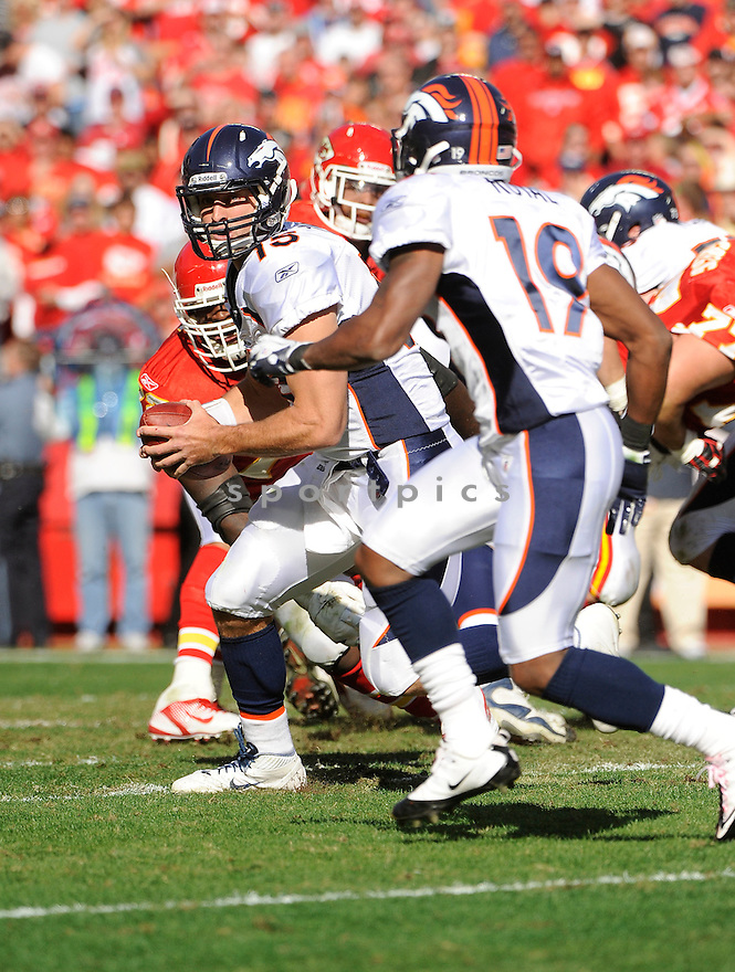 TIM TEBOW, of the Denver Broncos, in action during the Broncos game against the Kansas City Chiefs on November 13, 2011 at Arrowhead Stadium in Kansas City, MO. Denver beat Kansas City 17-10.