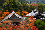Roofs of Nanzen-ji Buddhist temple complex historic buildings in colorful autumn scenery, traditional Japanese architecture details, Sakyo-ku, Kyoto, Japan 2017 Image © MaximImages, License at https://www.maximimages.com