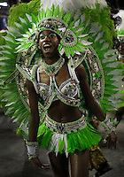 A dancer of Imperio da Tijuca samba school performs during parade at the Sambadrome, Rio de Janeiro, Brazil, March 2, 2014.  (Austral Foto/Renzo Gostoli)