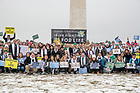 January 18, 2019; Rev. John I. Jenkins, C.S.C. takes photos with students at the March for Life in Washington D.C. (Photo by Barbara Johnston/University of Notre Dame)