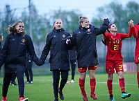 20191101 - Tubize: Belgian players celebrating their win pictured after the international friendly match between Red Flames U16 (Belgium) and Norway U16 on 1 November 2019 at Belgian Football Centre, Tubize. PHOTO:  SPORTPIX.BE   SEVIL OKTEM
