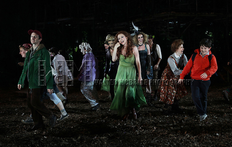 Jessie Mueller, Denis O'Hare, Donna Murphy, Amy Adams & Jack Broderick  during the Opening Night Performance Curtain Call for  The Public Theater's 'Into The Woods' at the Delacorte Theater in New York City on 8/9/2012.