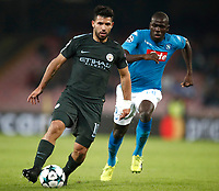 Football Soccer: UEFA Champions League Napoli vs Mabchester City San Paolo stadium Naples, Italy, November 1, 2017. <br /> Manchester City's Sergio Aguero (l) in action with Napoli's Kalidou Koulibaly (r) during the Uefa Champions League football soccer match between Napoli and Manchester City at San Paolo stadium, November 1, 2017.<br /> UPDATE IMAGES PRESS/Isabella Bonotto
