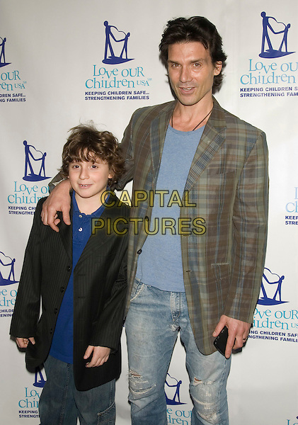 FRANK GRILLO & son REMY .Love Our Children USA's Fifth Annual National Love Our Children Day.at Spotlight Live, New York, NY, USA, .April 5, 2008..half length green plaid jacket blue top father family .CAP/LNC/TOM.©LNC/Capital Pictures