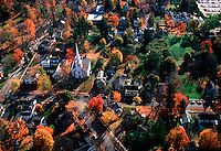 Aerial view of Cooperstown, New York, in the fall