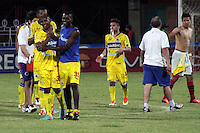 CUCUTA -COLOMBIA- 6 -10--2013. Jugadores del Deportivo Pasto celebran su victoria cintra el Cucuta Deportivo. Accion de juego entre los equipos del Cucuta Deportivo   contra el Deportivo Pasto , partido correspondiente a la catorceava  fecha de La Liga Postobon segundo semestre jugado en el estadio General Santander/ Deportivo Pasto players celebrate their victory against Deportivo Cucuta. Action game between teams against Deportivo Cucuta Deportivo Pasto, the fourteenth game in La Liga Postobon date second half played at the stadium General Santande.Photo: VizzorImage / Manuel Hernandez / Stringer