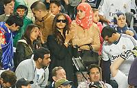 LISBOA, PORTUGUAL, 24.05.2014 - LIGA DOS CAMPEOES - REAL MADRID - ATLETICO DE MADRID - Iria Shayk namora do jogador do Real Madrid Cristiano Ronaldo comemora a conquista da Liga dos Campeões após a vitória por 4 a 1, na prorrogação contra o Atlético de Madrid, no estádio da Luz, em Lisboa, Portugal, neste sábado. O Real conquistou a taça da Liga pela 10ª vez. (PHOTO: PIXATHLON / BRAZIL PHOTO PRESS).