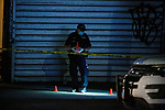 The NYPD investigates a shooting at 915 Nostrand Avenue, where a man was shot in the face, early Sunday morning on July 19, 2020 in the East Flatbush neighborhood of the Brooklyn borough of New York City.  Photograph by Michael Nagle
