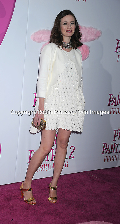 "actress Emily Mortimer in Chloe dress..posing for photographers at The World Premiere of ""The Pink Panther 2 staring Steve Martin, Jean Reno, Emily Mortimer, Andy Garcia and Aishwarya Rai Bachchan on ..February 3, 2009 at The Ziegfeld Theatre in New York City. ....Robin Platzer, Twin Images"