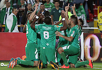 BOGOTA - COLOMBIA - 29-04-2015: Oscar Barreto  de La Equidad celebra su gol  contra el Atletico Nacional   durante partido  por la fecha 9 entre La Equidad y Atletico Nacional  de la Liga Aguila I-2015, en el estadio Nemesio Camacho El Campin  de la ciudad de Bogota. / Oscar Barreto  player of  La Equidad celebrates his goal against   to Atletico Nacional , during an  match of the 9 date between La Equidad and Atletico Nacional  for the Liga Aguila I -2015 at the Nemesio Camacho El Campin  Stadium in Bogota city, Photo: VizzorImage / Felipe Caicedo / Staff.
