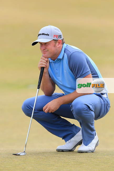 Jamie DONALDSON (WAL) lines up his putt on the 17th green during Thursday's Round 1 of the 2015 U.S. Open 115th National Championship held at Chambers Bay, Seattle, Washington, USA. 6/18/2015.<br /> Picture: Golffile | Eoin Clarke<br /> <br /> <br /> <br /> <br /> All photo usage must carry mandatory copyright credit (&copy; Golffile | Eoin Clarke)