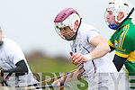 Shane Nolan Kerry in action against John Doran Kildare in the National Hurling League at Abbeydorney on Sunday.