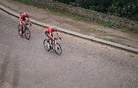 race leaders Jasper Stuyven (BEL/Trek-Segafredo) &amp; Dimitri Claeys (BEL/Cofidis) in the finale up the Citadelle de Namur <br /> <br /> 59th Grand Prix de Wallonie 2018 <br /> 1 Day Race from Blegny to Citadelle de Namur (BEL / 206km)